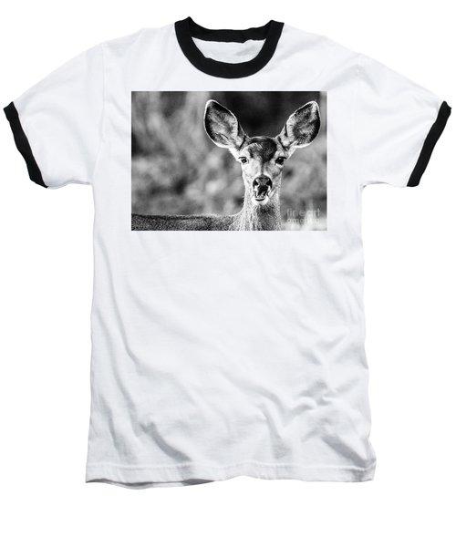 Oh, Deer, Black And White Baseball T-Shirt