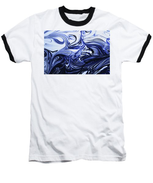 Oil Swirl Blue Droplets Abstract I Baseball T-Shirt