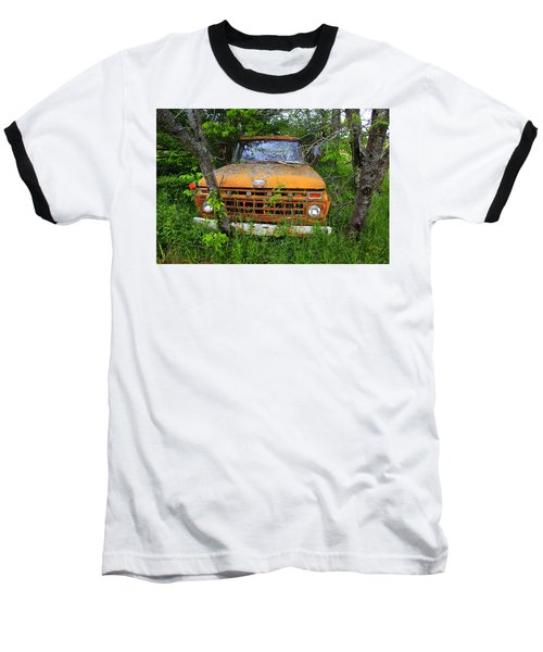 Old Abandoned Ford Truck In The Forest Baseball T-Shirt