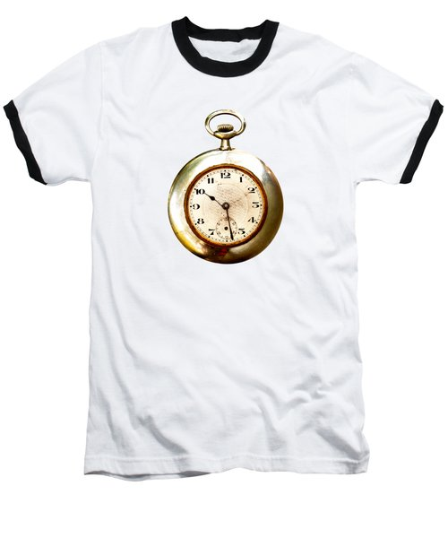 Baseball T-Shirt featuring the photograph Old And Used Pocket Clock Om White Background by Michal Boubin