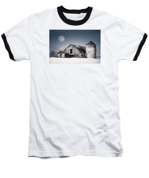 Old Barn And Winter Moon - Snowy Rustic Landscape Baseball T-Shirt