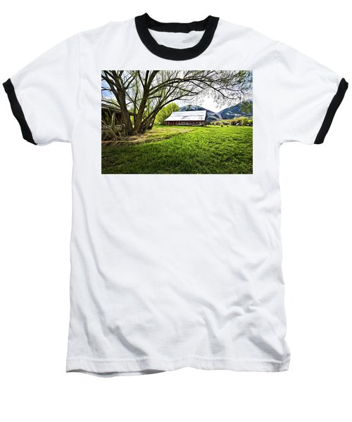 Baseball T-Shirt featuring the digital art Old Barn In Eden Utah by James Steele