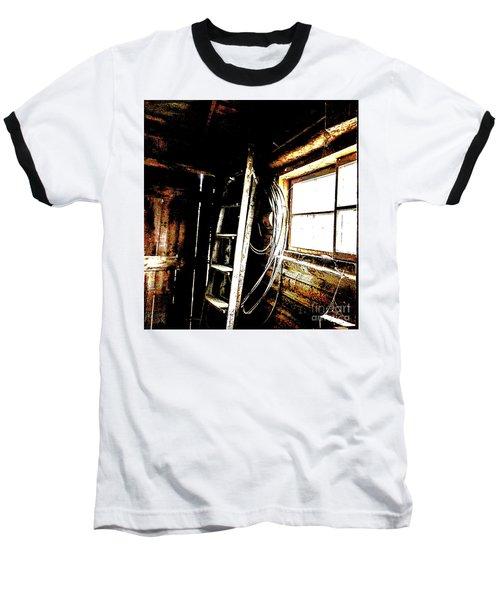 Old Barn Ladder Baseball T-Shirt by Deborah Nakano