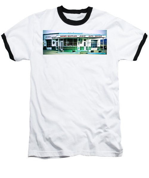 Old Gas Station Green Tile Baseball T-Shirt