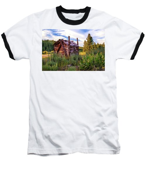 Old Lumber Mill Cabin Baseball T-Shirt by James Eddy
