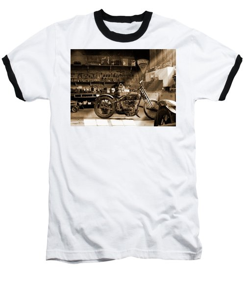 Old Motorcycle Shop Baseball T-Shirt