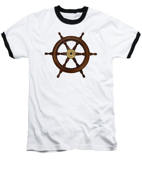 Old Oak Steering Wheel For Boats And Ships Baseball T-Shirt by Tom Conway