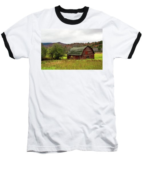 Baseball T-Shirt featuring the photograph Old Red Adirondack Barn by Nancy De Flon