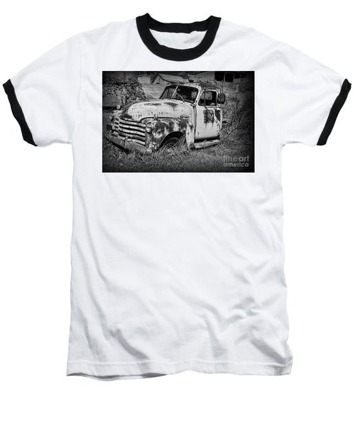 Old Rusty Chevy In Black And White Baseball T-Shirt by Paul Ward
