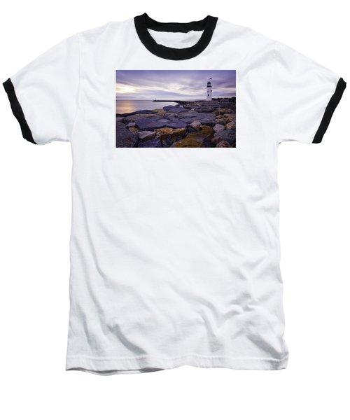 Old Scituate Light At Sunrise Baseball T-Shirt by Betty Denise