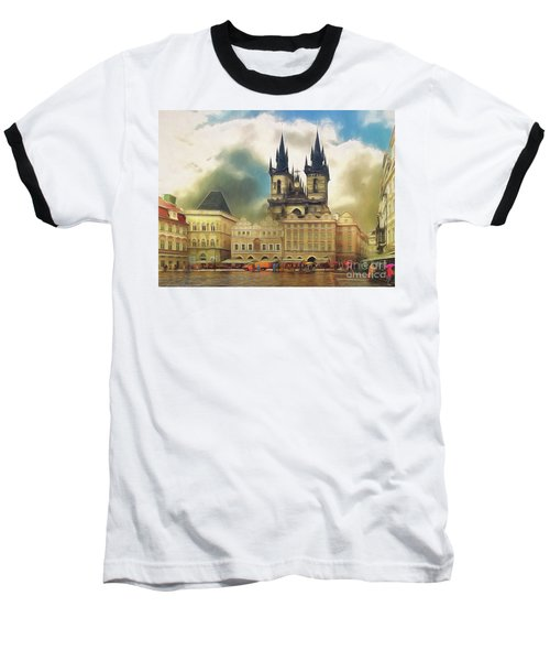 Old Town Square Prague In The Rain Baseball T-Shirt