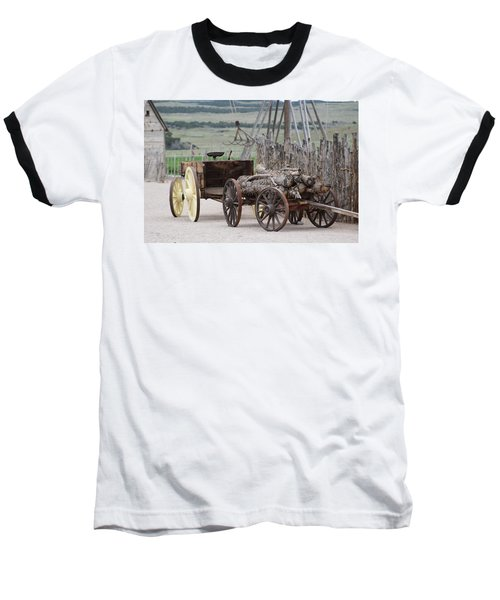 Old Tractor And Wagon In Foreground Cove Creek Fort Photography By Colleen Baseball T-Shirt
