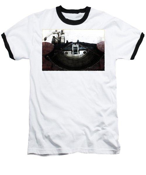 Old Typewriter Machine In Grunge Style Baseball T-Shirt by Michal Boubin