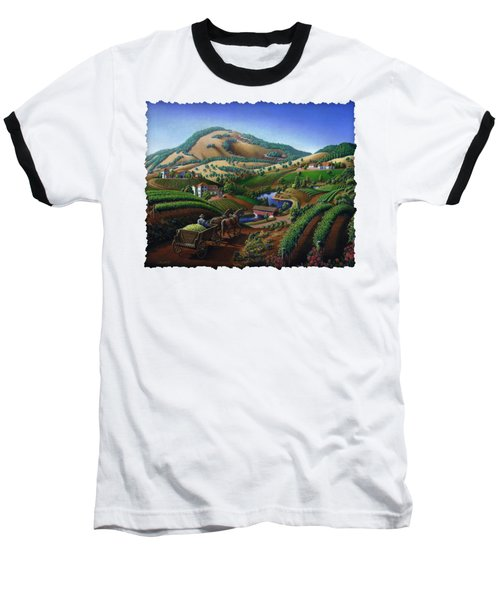 Old Wine Country Landscape - Delivering Grapes To Winery - Vintage Americana Baseball T-Shirt