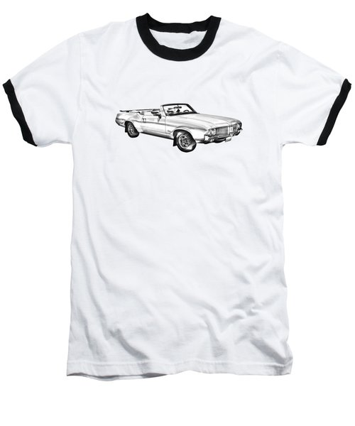 Oldsmobile Cutlass Supreme Muscle Car Illustration Baseball T-Shirt