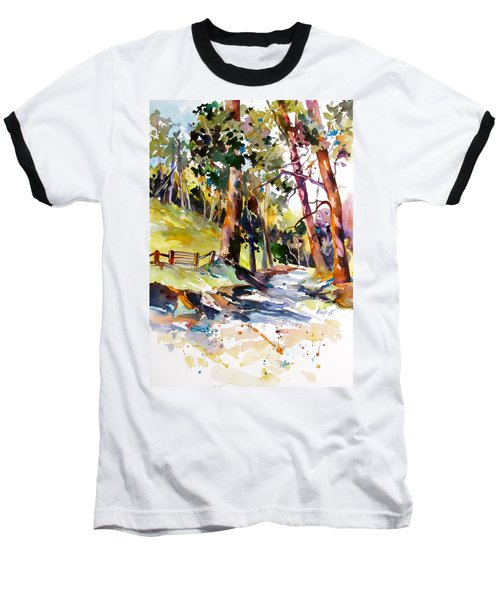 Baseball T-Shirt featuring the painting Olinda Trees Maui 2 by Rae Andrews