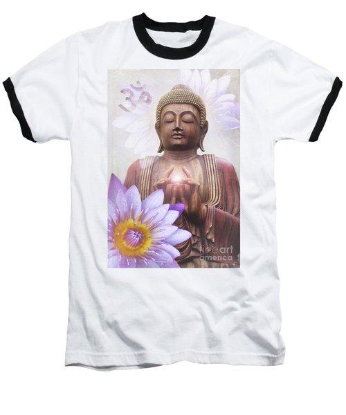 Om Mani Padme Hum - Buddha Lotus Baseball T-Shirt
