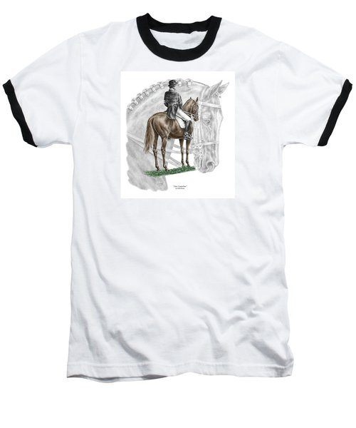 On Centerline - Dressage Horse Print Color Tinted Baseball T-Shirt by Kelli Swan