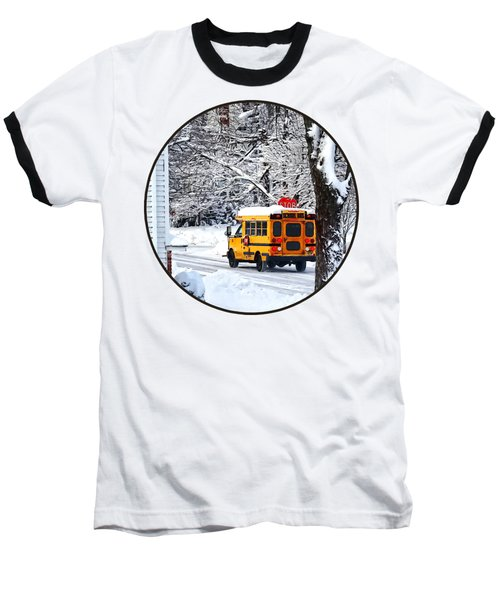 On The Way To School In Winter Baseball T-Shirt by Susan Savad