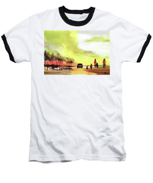 Baseball T-Shirt featuring the painting On Vacation by Anil Nene