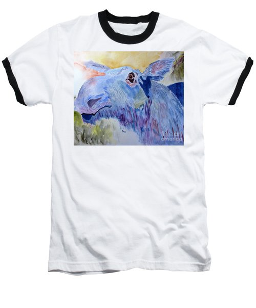 Once In A Blue Moose Baseball T-Shirt by Sandy McIntire