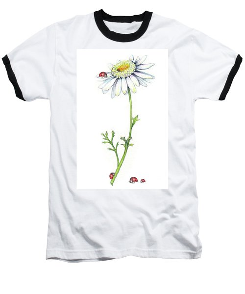 Baseball T-Shirt featuring the painting One Daisy And Four Ladybugs by Heidi Kriel
