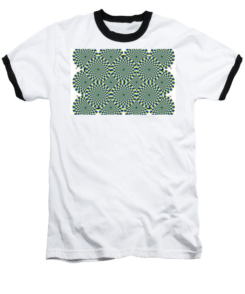 Optical Illusion Spinning Circles Baseball T-Shirt by Sumit Mehndiratta