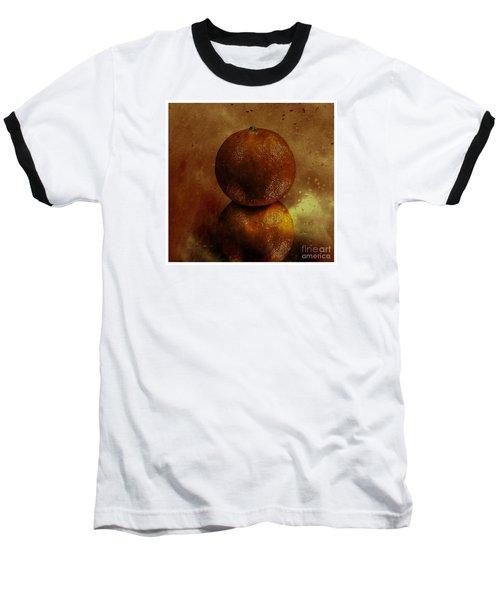 Orange Art Baseball T-Shirt by Shirley Mangini