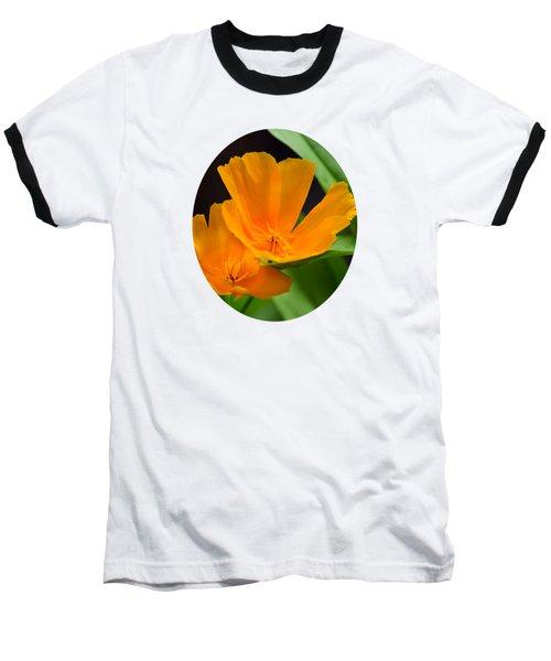 Orange California Poppies Baseball T-Shirt by Christina Rollo
