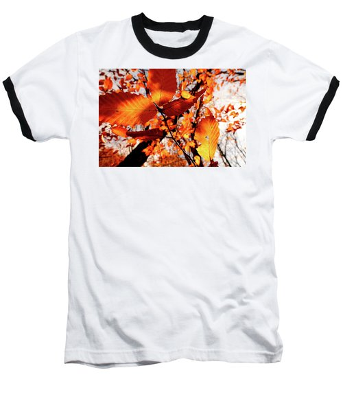 Orange Fall Leaves Baseball T-Shirt