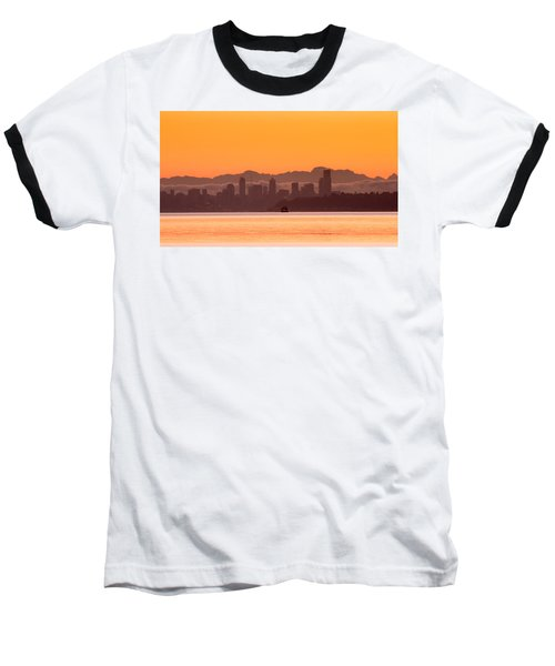 Seattle Skyline In Orange Baseball T-Shirt