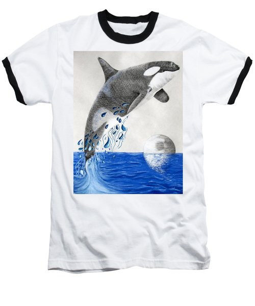 Baseball T-Shirt featuring the drawing Orca by Mayhem Mediums