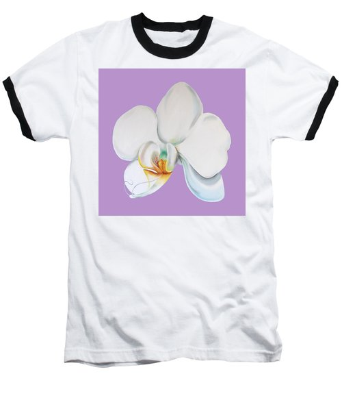 Baseball T-Shirt featuring the digital art Orchid On Lilac by Elizabeth Lock