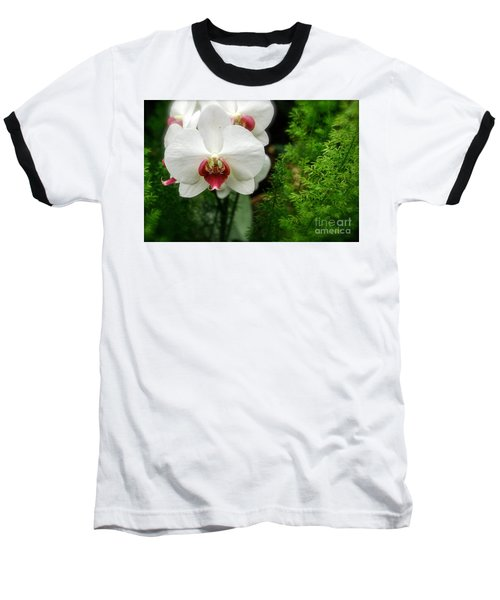 Orchid White Baseball T-Shirt by Brian Jones