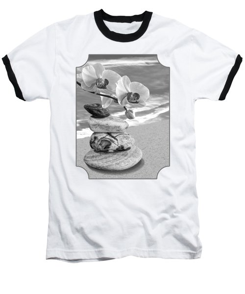Orchids And Pebbles On The Sand In Black And White Baseball T-Shirt by Gill Billington