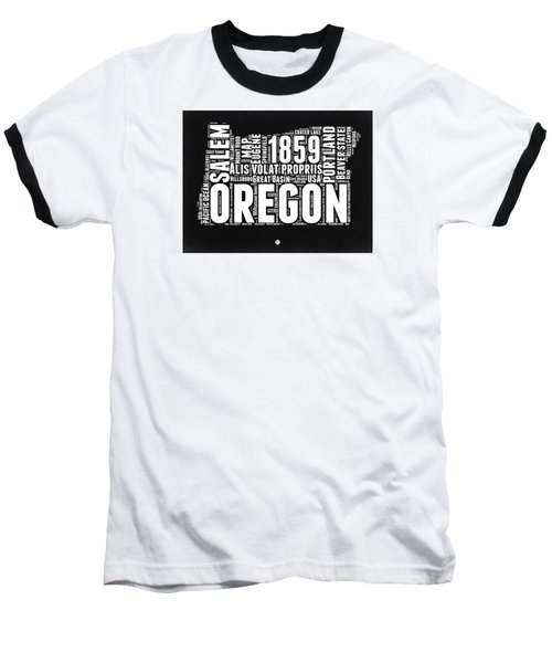 Oregon Black And White Map Baseball T-Shirt