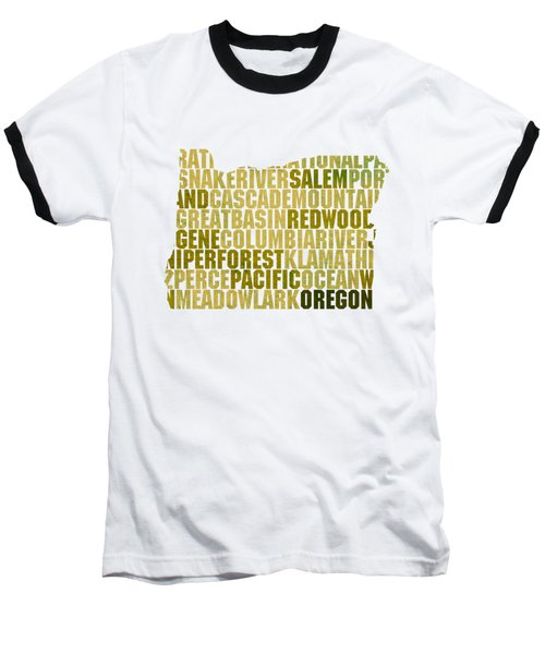 Oregon State Outline Word Map Baseball T-Shirt by Design Turnpike