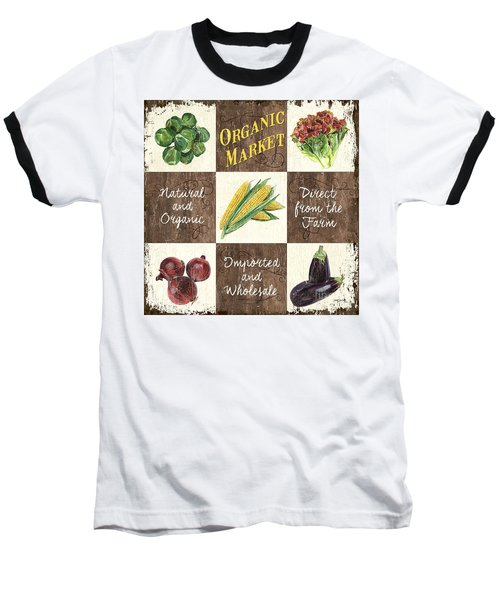 Organic Market Patch Baseball T-Shirt by Debbie DeWitt