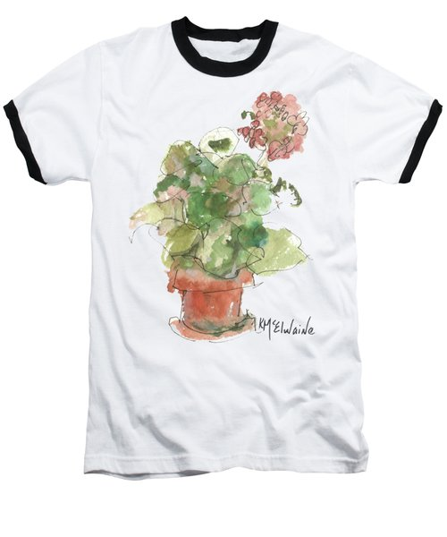 Original Buspaintings Geranium Watercolor Painting By Kathleen Mcelwaine Baseball T-Shirt