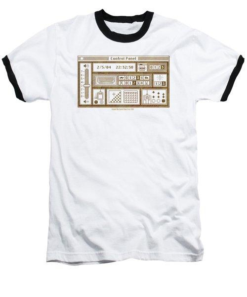 Original Mac Computer Control Panel Circa 1984 Baseball T-Shirt by Design Turnpike