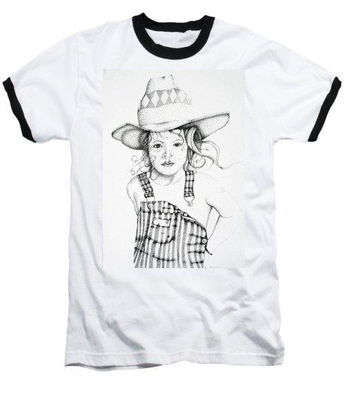 Baseball T-Shirt featuring the drawing Osh Kosh by Mayhem Mediums
