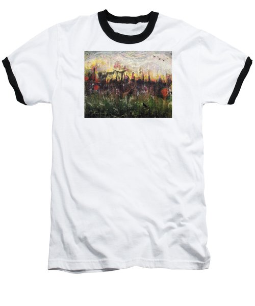 Baseball T-Shirt featuring the painting Other World 2 by Ron Richard Baviello