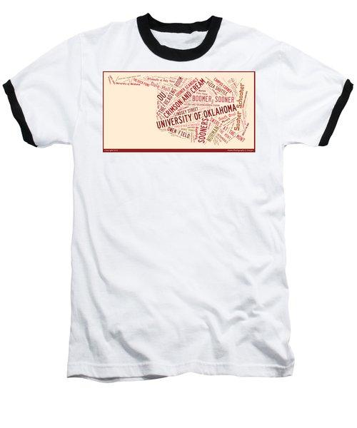 Ou Word Art University Of Oklahoma Baseball T-Shirt by Roberta Peake