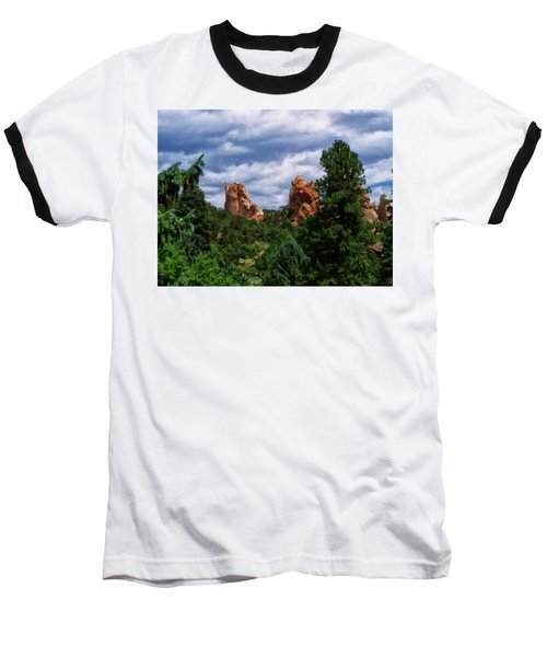 Baseball T-Shirt featuring the digital art outcroppings in Colorado Springs by Chris Flees