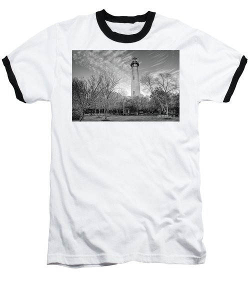 Baseball T-Shirt featuring the photograph Outer Banks Winter At The Currituck Lighthouse Bw by Dan Carmichael