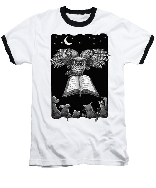 Owl And Friends Blackwhite Baseball T-Shirt