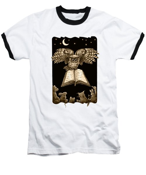 Owl And Friends Sepia Baseball T-Shirt