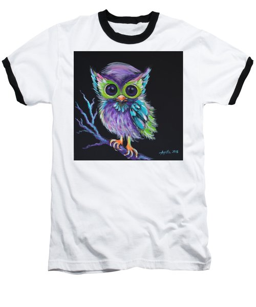 Baseball T-Shirt featuring the painting Owl Be Your Friend by Agata Lindquist