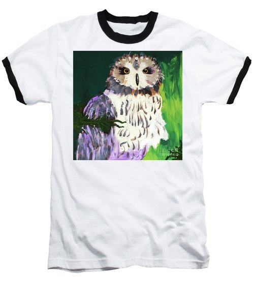 Owl Behind A Tree Baseball T-Shirt