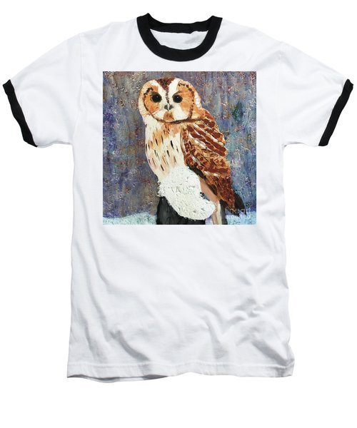 Owl On Snow Baseball T-Shirt by Donald J Ryker III